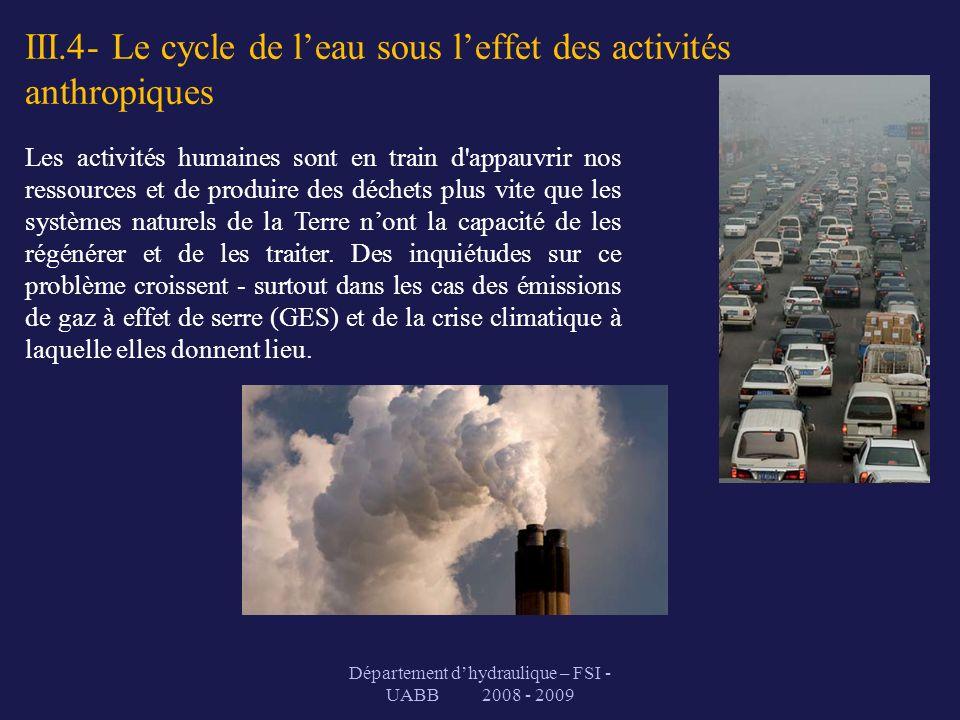 III.4- Le cycle de leau sous leffet des activités anthropiques Département dhydraulique – FSI - UABB 2008 - 2009 Les activités humaines sont en train