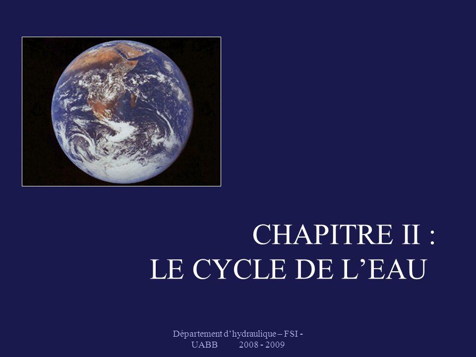 Département dhydraulique – FSI - UABB 2008 - 2009