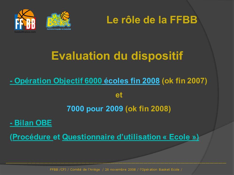 Le rôle de la FFBB Evaluation du dispositif - Opération Objectif 6000- Opération Objectif 6000 écoles fin 2008 (ok fin 2007) et 7000 pour 2009 (ok fin