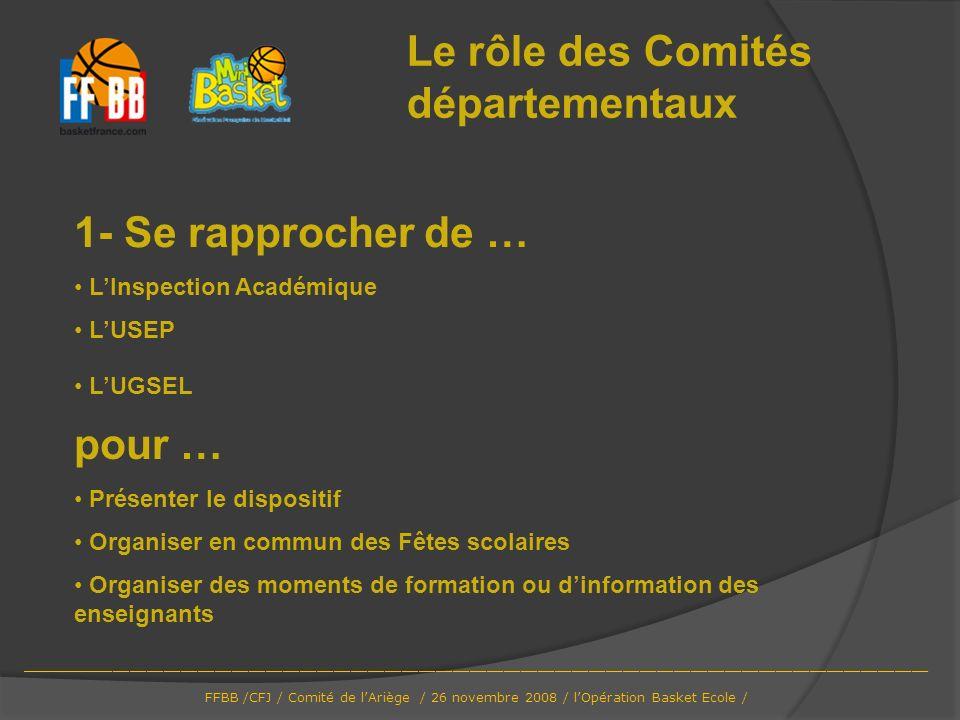 1- Se rapprocher de … LInspection Académique LUSEP LUGSEL Le rôle des Comités départementaux pour … Présenter le dispositif Organiser en commun des Fê