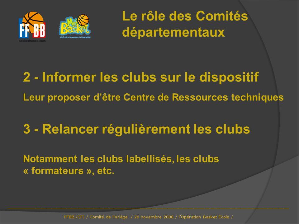 2 - Informer les clubs sur le dispositif Leur proposer dêtre Centre de Ressources techniques 3 - Relancer régulièrement les clubs Notamment les clubs