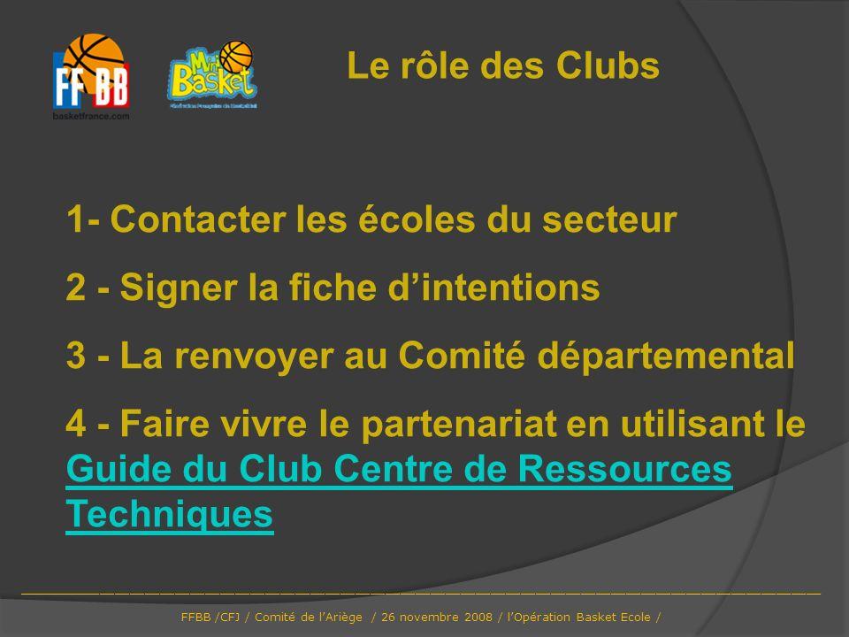 1- Contacter les écoles du secteur 2 - Signer la fiche dintentions 3 - La renvoyer au Comité départemental 4 - Faire vivre le partenariat en utilisant
