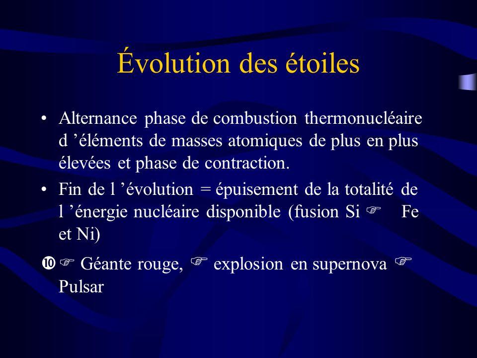 Évolution des étoiles Alternance phase de combustion thermonucléaire d éléments de masses atomiques de plus en plus élevées et phase de contraction. F