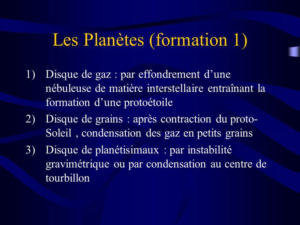 Les Planètes (formation 1) 1)Disque de gaz : par effondrement dune nébuleuse de matière interstellaire entraînant la formation dune protoétoile 2)Disq
