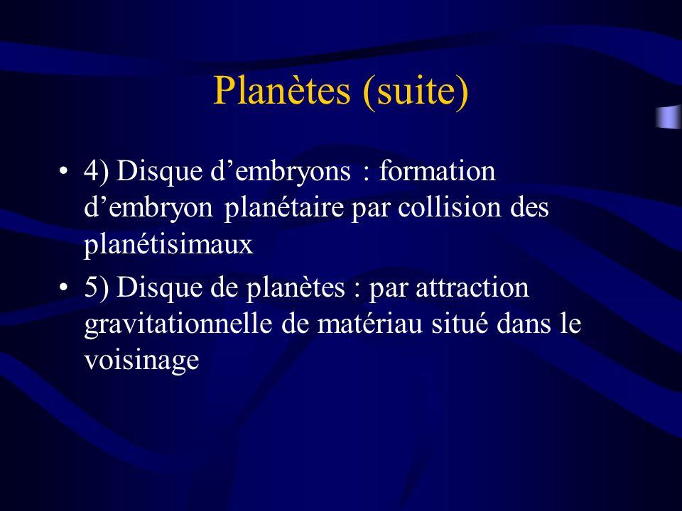Planètes (suite) 4) Disque dembryons : formation dembryon planétaire par collision des planétisimaux 5) Disque de planètes : par attraction gravitatio