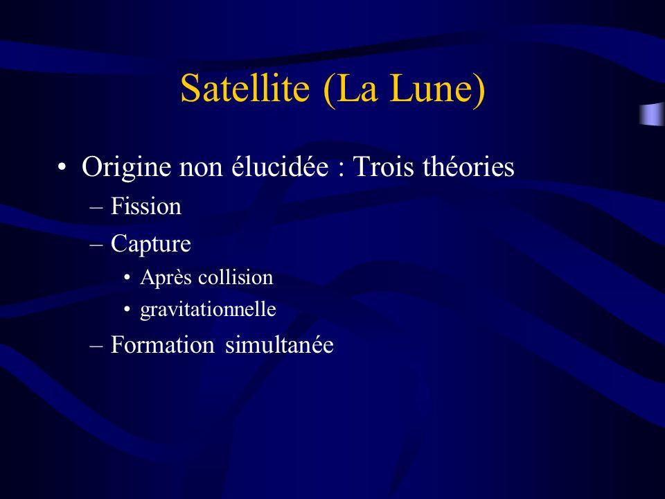 Satellite (La Lune) Origine non élucidée : Trois théories –Fission –Capture Après collision gravitationnelle –Formation simultanée