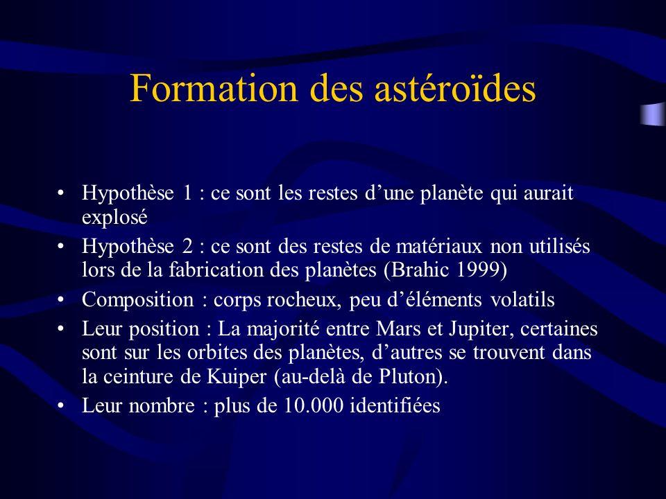 Formation des astéroïdes Hypothèse 1 : ce sont les restes dune planète qui aurait explosé Hypothèse 2 : ce sont des restes de matériaux non utilisés l
