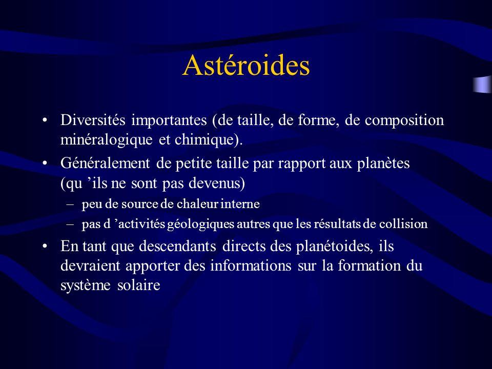 Astéroides Diversités importantes (de taille, de forme, de composition minéralogique et chimique). Généralement de petite taille par rapport aux planè