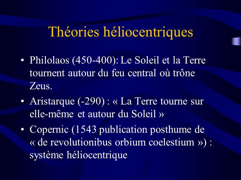 Théories héliocentriques Philolaos (450-400): Le Soleil et la Terre tournent autour du feu central où trône Zeus. Aristarque (-290) : « La Terre tourn