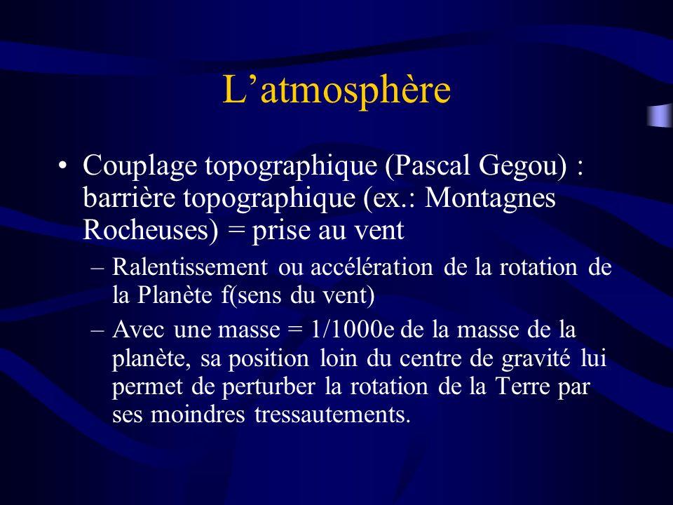 Latmosphère Couplage topographique (Pascal Gegou) : barrière topographique (ex.: Montagnes Rocheuses) = prise au vent –Ralentissement ou accélération