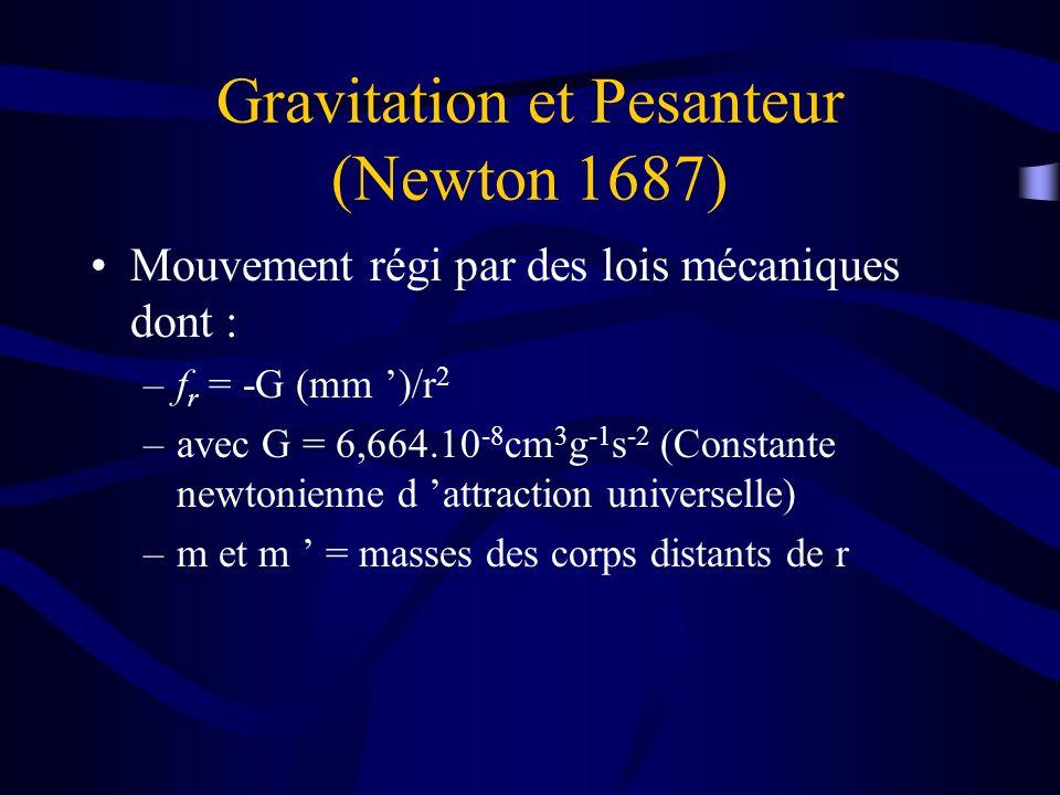 Gravitation et Pesanteur (Newton 1687) Mouvement régi par des lois mécaniques dont : –f r = -G (mm )/r 2 –avec G = 6,664.10 -8 cm 3 g -1 s -2 (Constan