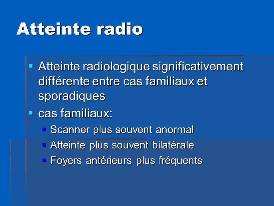 Atteinte radio Atteinte radiologique significativement différente entre cas familiaux et sporadiques Atteinte radiologique significativement différent