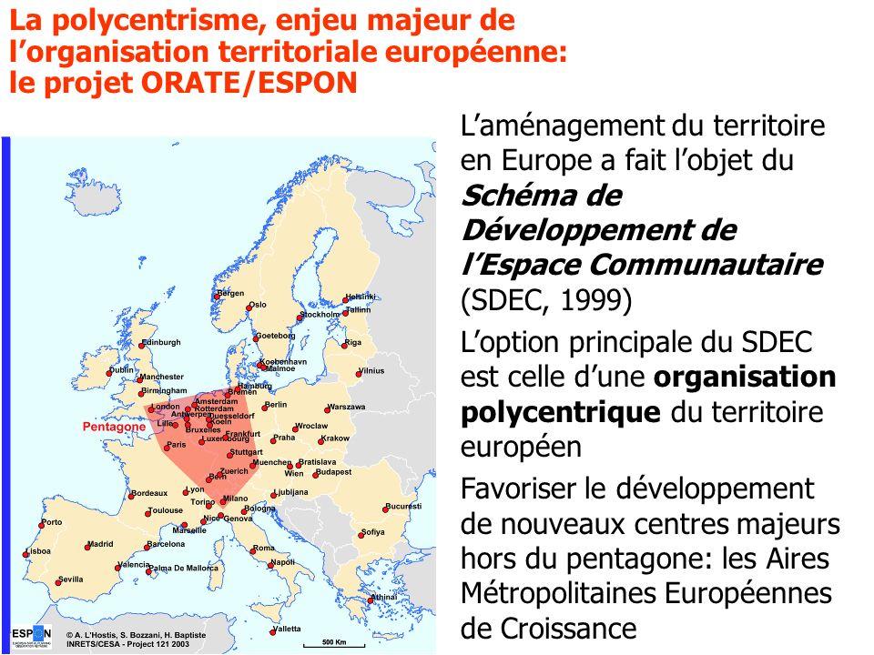 Alain LHostis INRETS-LVMT 25 septembre 2007 La polycentrisme, enjeu majeur de lorganisation territoriale européenne: le projet ORATE/ESPON Laménagemen