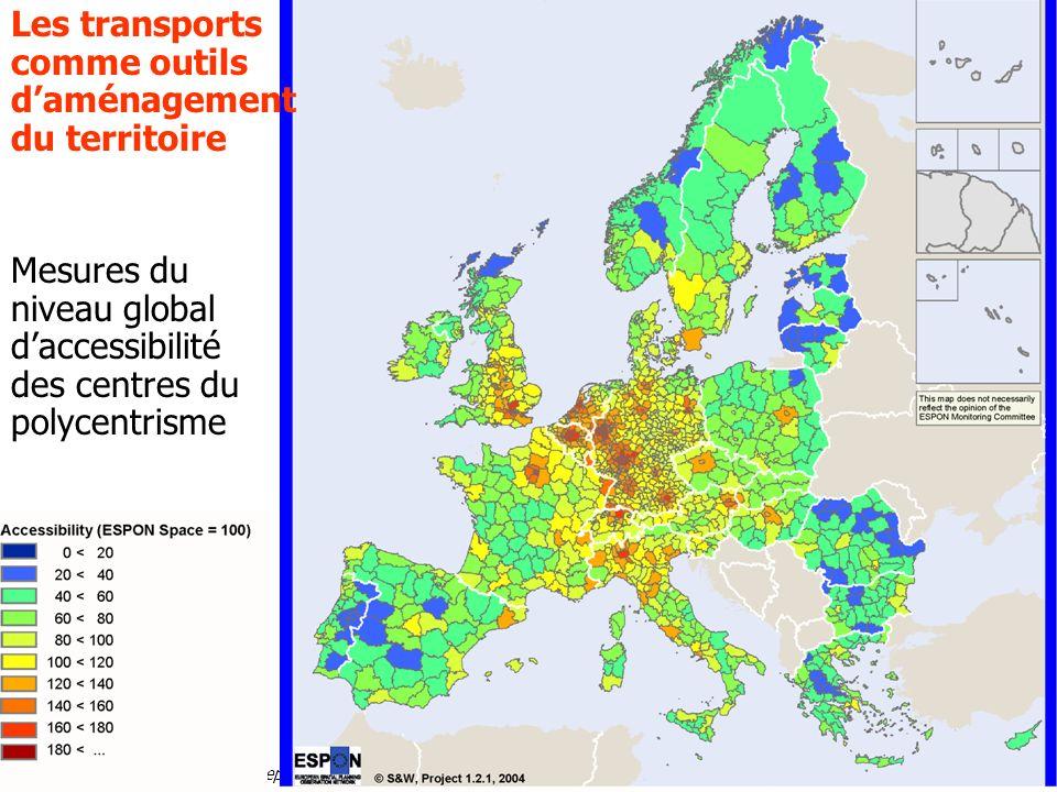 Alain LHostis INRETS-LVMT 25 septembre 2007 Les transports comme outils daménagement du territoire Mesures du niveau global daccessibilité des centres