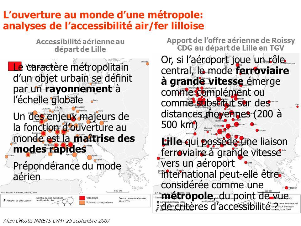 Alain LHostis INRETS-LVMT 25 septembre 2007 Accessibilité aérienne au départ de Lille Apport de loffre aérienne de Roissy CDG au départ de Lille en TG