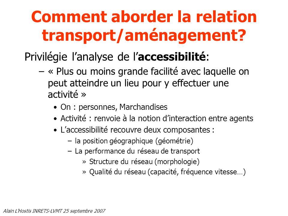 Alain LHostis INRETS-LVMT 25 septembre 2007 Comment aborder la relation transport/aménagement? Privilégie lanalyse de laccessibilité: –« Plus ou moins