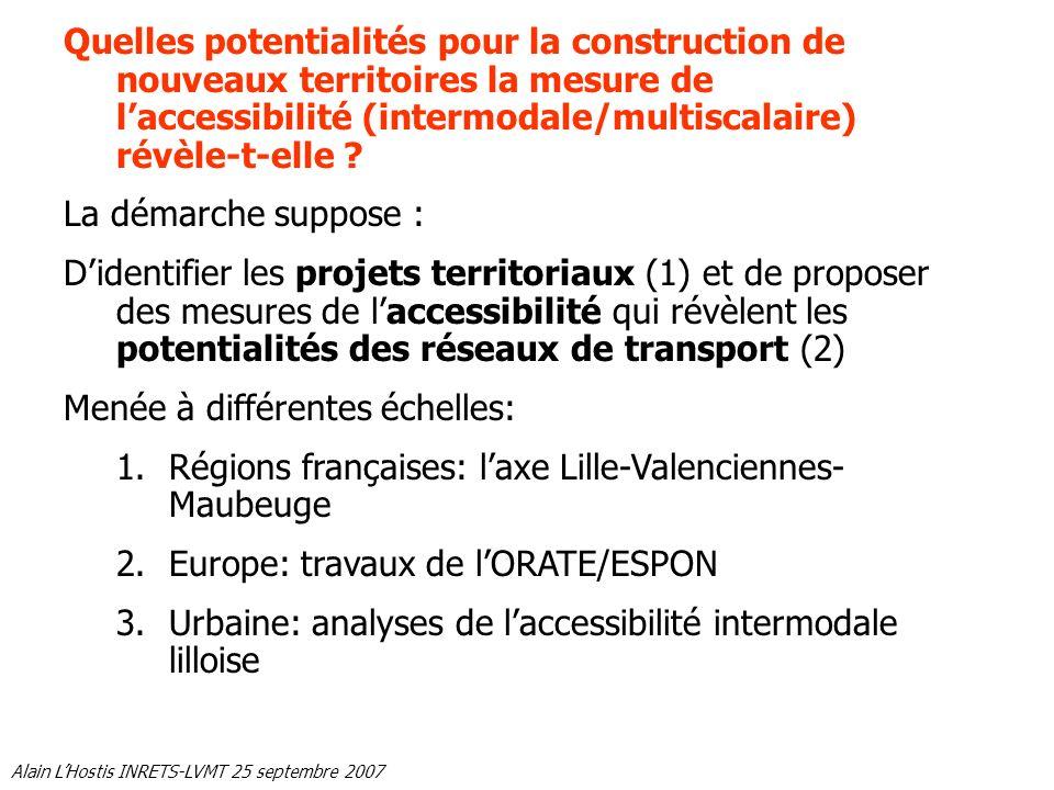 Alain LHostis INRETS-LVMT 25 septembre 2007 Quelles potentialités pour la construction de nouveaux territoires la mesure de laccessibilité (intermodal