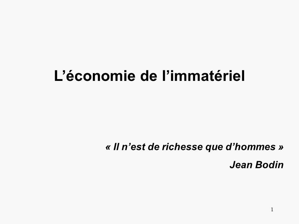 1 Léconomie de limmatériel « Il nest de richesse que dhommes » Jean Bodin