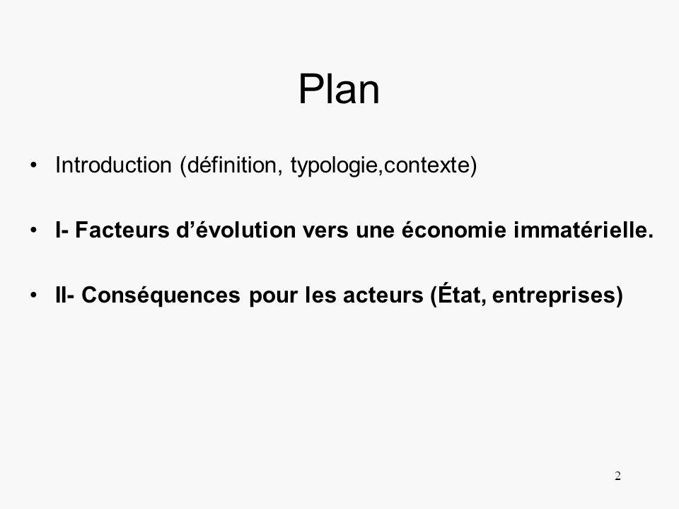 2 Plan Introduction (définition, typologie,contexte) I- Facteurs dévolution vers une économie immatérielle. II- Conséquences pour les acteurs (État, e