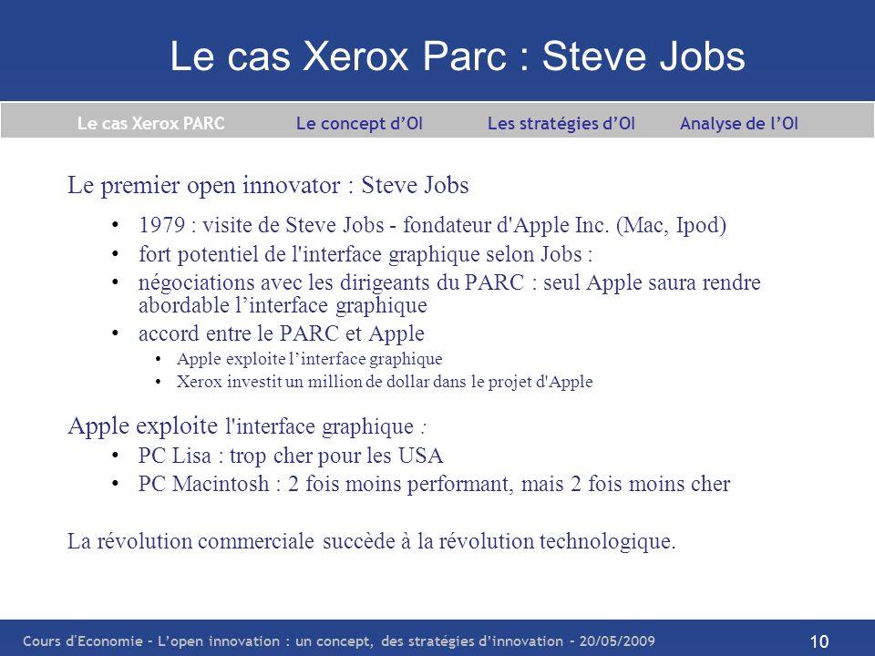 Cours d Economie – Lopen innovation : un concept, des stratégies dinnovation – 20/05/2009 11 Le cas Xerox Parc : un exemple dopen innovation Les points clé de l exemple PARC-Apple : PARC prend conscience de son incapacité à exploiter une innovation réalisée en interne Apple perçoit le potentiel dune innovation quelle na pas réalisée en interne La collaboration Xerox-PARC est un cas d OI : une firme exploite les résultats de l innovation d une autre firme processus sortant pour l entreprise qui donne accès à son innovation processus entrant pour celle qui accède à l innovation de l autre firme Nota bene : Relation réciproque, condition sine qua none à l OI.
