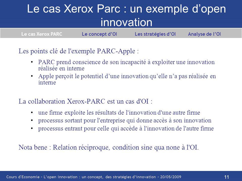Cours d Economie – Lopen innovation : un concept, des stratégies dinnovation – 20/05/2009 12 Le cas Xerox Parc : un exemple dopen innovation Le cas Xerox PARC Le concept dOI Les stratégies dOI Analyse de lOI