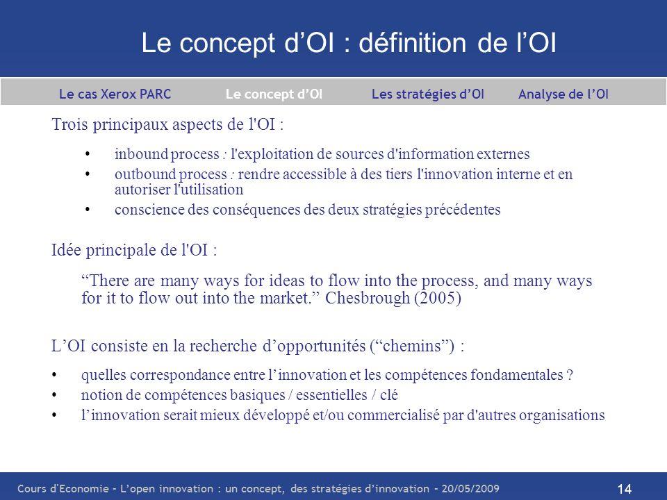 Cours d Economie – Lopen innovation : un concept, des stratégies dinnovation – 20/05/2009 15 Le concept dOI : principe de lOI L innovation réalisée en dehors de la firme reste un phénomène connu.