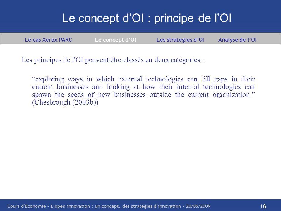 Cours d Economie – Lopen innovation : un concept, des stratégies dinnovation – 20/05/2009 17 Le concept dOI : open innovation vs closed innovation Le cas Xerox PARC Le concept dOI Les stratégies dOI Analyse de lOI