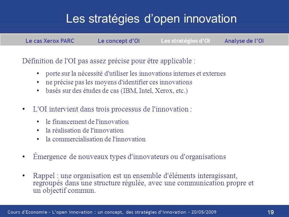 Cours d Economie – Lopen innovation : un concept, des stratégies dinnovation – 20/05/2009 20 Les stratégies dOI – le financement de linnovation Deux stratégies de financement : Les investisseurs (capital-investissement, private equity investissement, etc.) lever des fonds pour financer un projet de recherche déplacer le lieu de l innovation vers le marché par la création dune spin-off (nouvelle entité de recherche séparée de la firme) compétences particulières dans le domaine concerné conseils spécifiques sur les écueils à éviter identifier et financer les secteurs prometteurs Les bienfaiteurs : organisations institutionnelles ou agences gouvernementales (e.g.