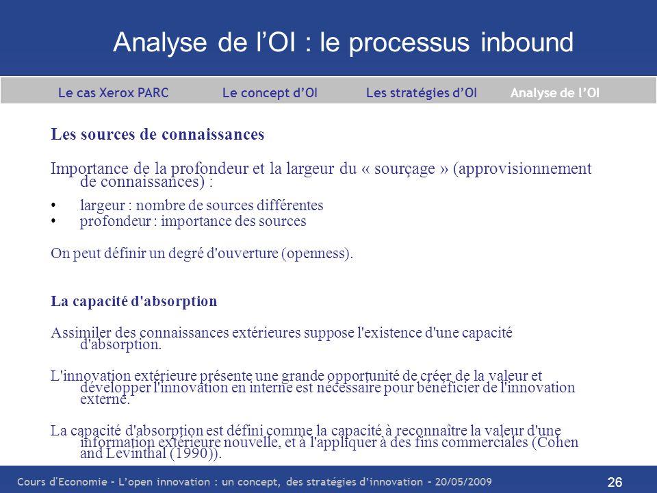 Cours d Economie – Lopen innovation : un concept, des stratégies dinnovation – 20/05/2009 27 Analyse de lOI : le processus inbound La capacité d absorption (suite) La capacité d absorption est une fonction qui dépend des connaissances antérieures de la firme.