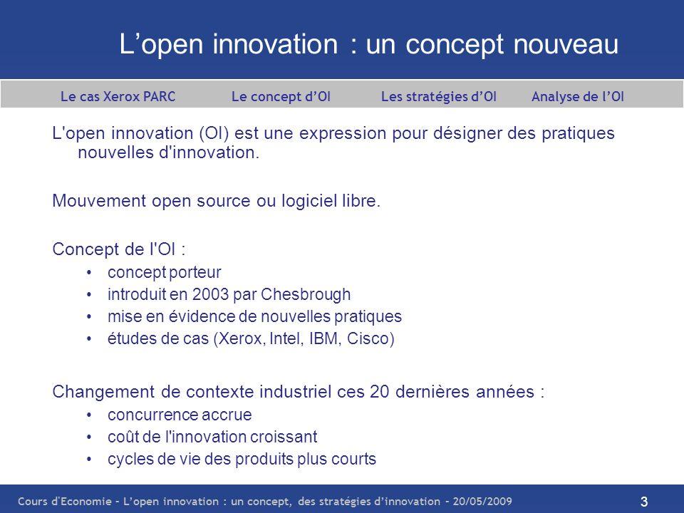 Cours d Economie – Lopen innovation : un concept, des stratégies dinnovation – 20/05/2009 4 Quest-ce que lopen innovation .