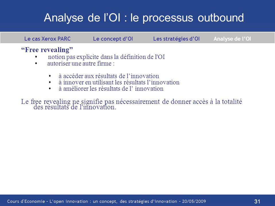Cours d Economie – Lopen innovation : un concept, des stratégies dinnovation – 20/05/2009 32 Analyse de lOI : les processus coopératifs Chesbrough (2003b) : The boundary between a firm and its surrounding environment is more porous, enabling innovation to move easily between the two.