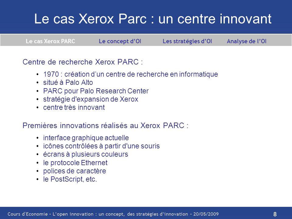 Cours d Economie – Lopen innovation : un concept, des stratégies dinnovation – 20/05/2009 9 Le cas Xerox Parc : un centre innovant Innovations récentes réalisées au Xerox PARC : logiciels logiciels de gestion de documents logiciels de recherche internet technologies d indexage, etc.