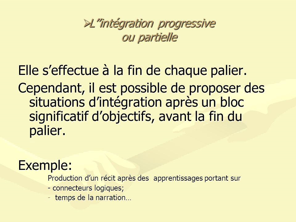 Lintégration progressive ou partielle Lintégration progressive ou partielle Elle seffectue à la fin de chaque palier. Cependant, il est possible de pr