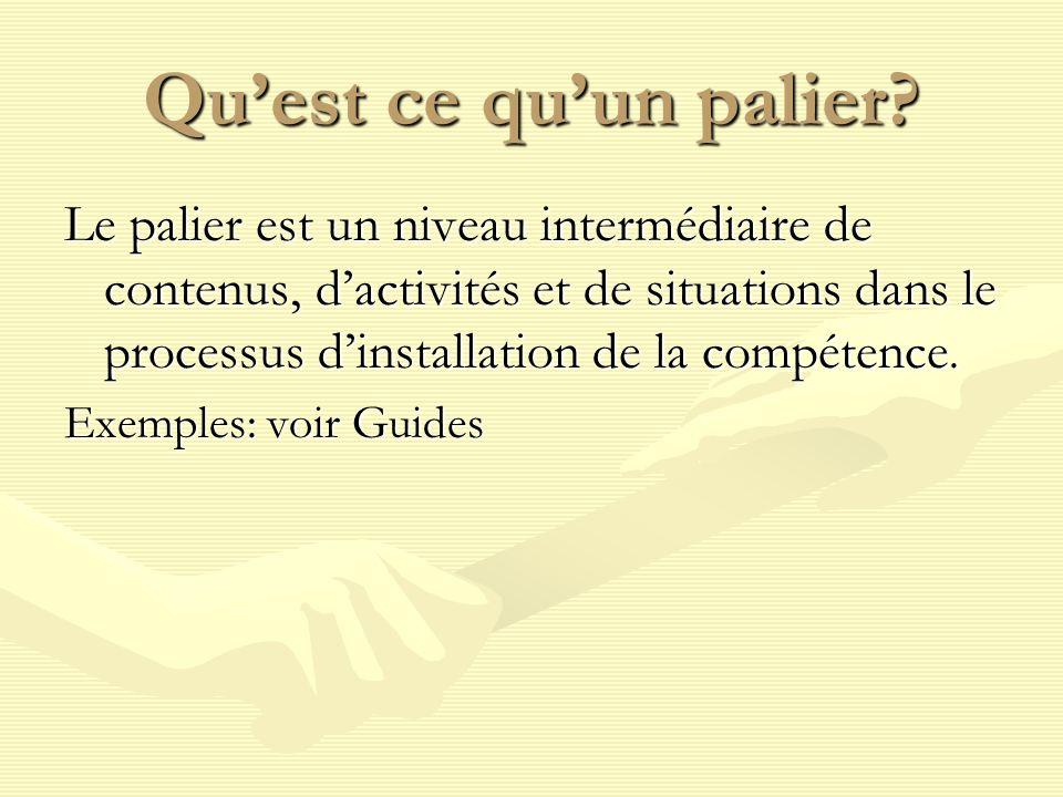 Quest ce quun palier? Le palier est un niveau intermédiaire de contenus, dactivités et de situations dans le processus dinstallation de la compétence.