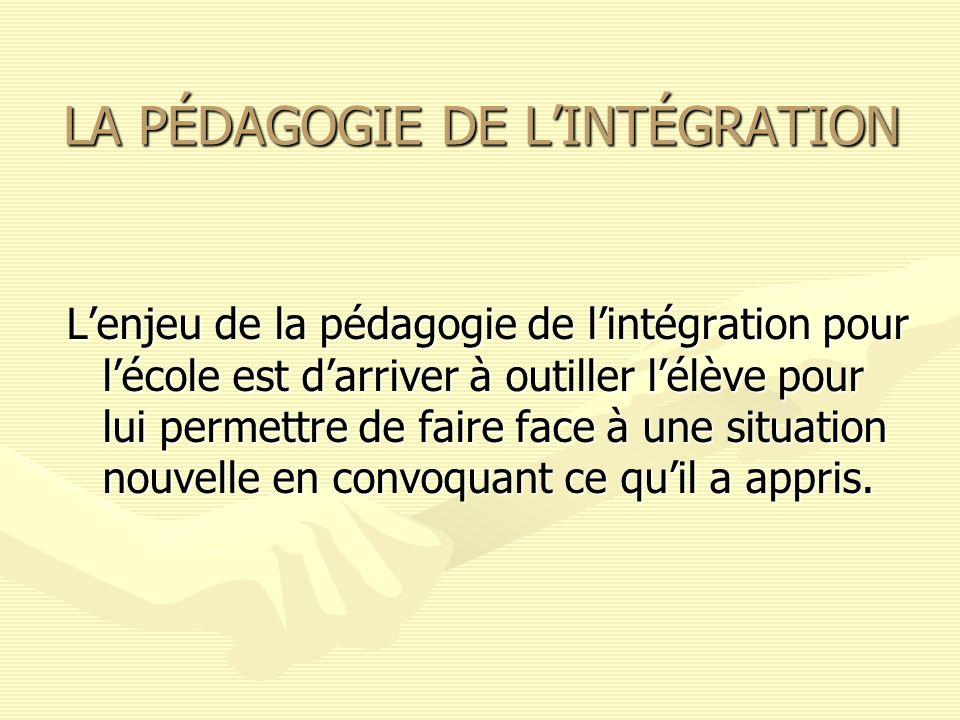 La pédagogie de lintégration est donc une réponse à la problématique que constitue lécart entre les acquis scolaires et lacquis requis par les situations de vie.