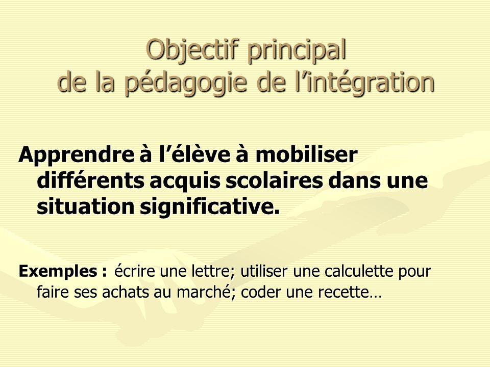 Objectif principal de la pédagogie de lintégration Apprendre à lélève à mobiliser différents acquis scolaires dans une situation significative. Exempl