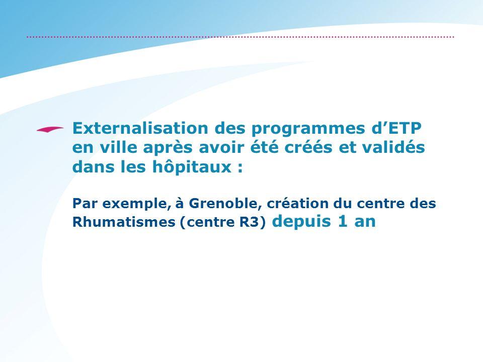 Externalisation des programmes dETP en ville après avoir été créés et validés dans les hôpitaux : Par exemple, à Grenoble, création du centre des Rhum