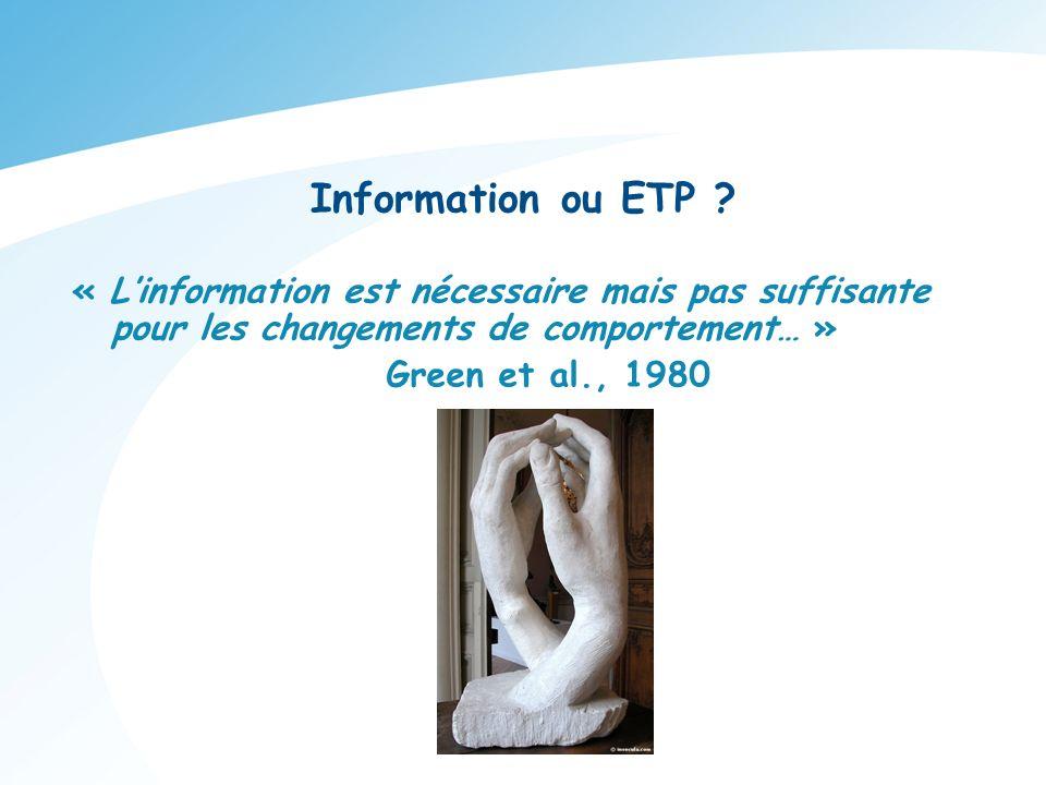 « Linformation est nécessaire mais pas suffisante pour les changements de comportement… » Green et al., 1980 Information ou ETP ?