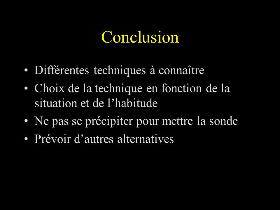 Conclusion Différentes techniques à connaître Choix de la technique en fonction de la situation et de lhabitude Ne pas se précipiter pour mettre la so