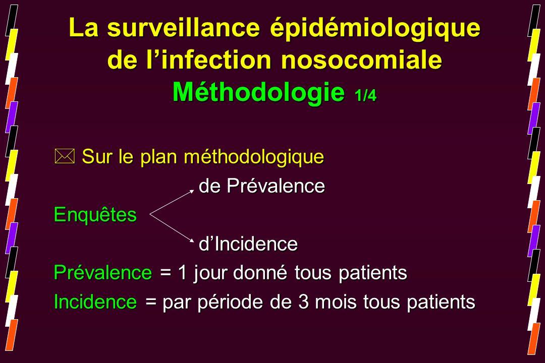 * Sur le plan méthodologique de Prévalence EnquêtesdIncidence Prévalence = 1 jour donné tous patients Incidence = par période de 3 mois tous patients