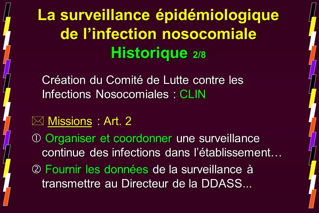 Création du Comité de Lutte contre les Infections Nosocomiales : CLIN * Missions : Art. 2 Organiser et coordonner une surveillance continue des infect