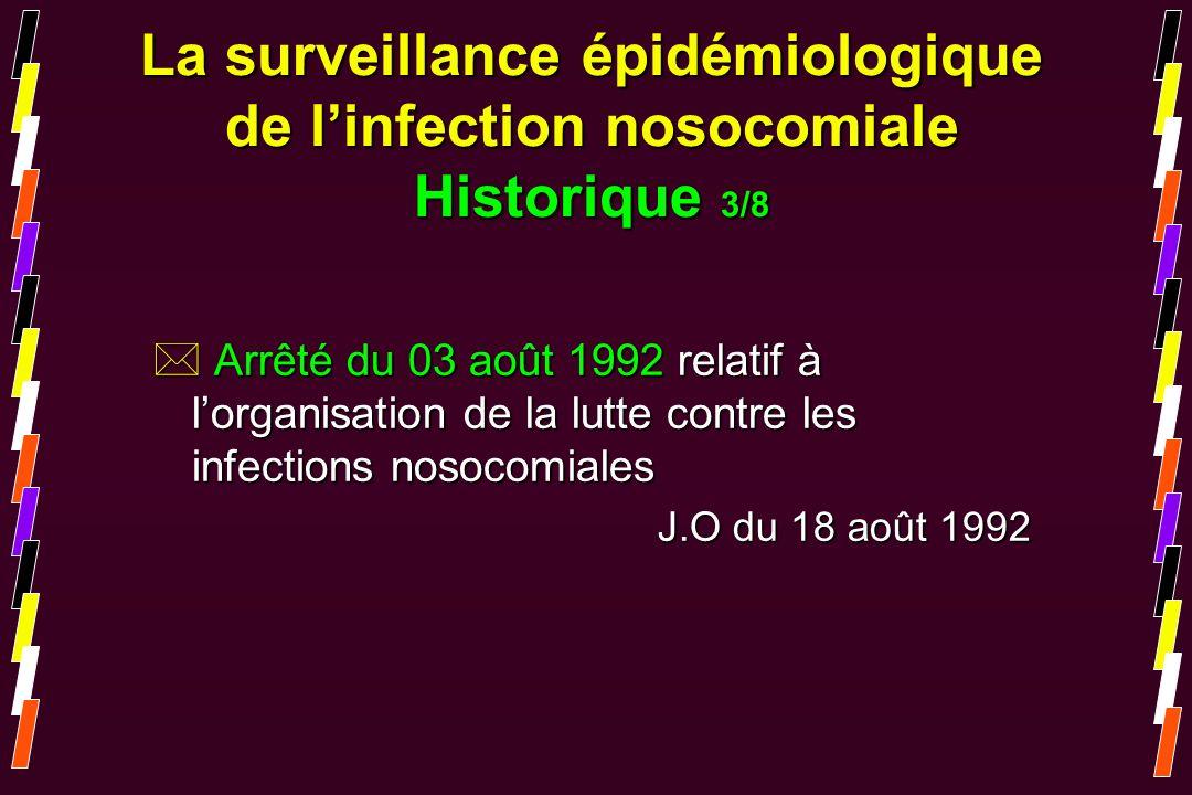La surveillance épidémiologique de linfection nosocomiale Historique 3/8 * Arrêté du 03 août 1992 relatif à lorganisation de la lutte contre les infec