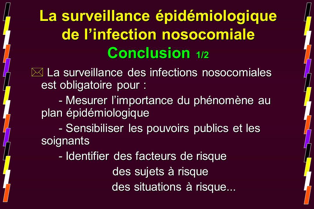 * La surveillance des infections nosocomiales est obligatoire pour : - Mesurer limportance du phénomène au plan épidémiologique - Sensibiliser les pou