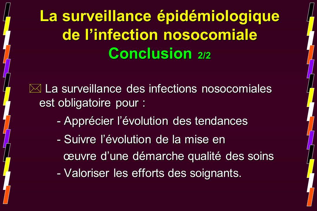 * La surveillance des infections nosocomiales est obligatoire pour : - Apprécier lévolution des tendances - Suivre lévolution de la mise en œuvre dune