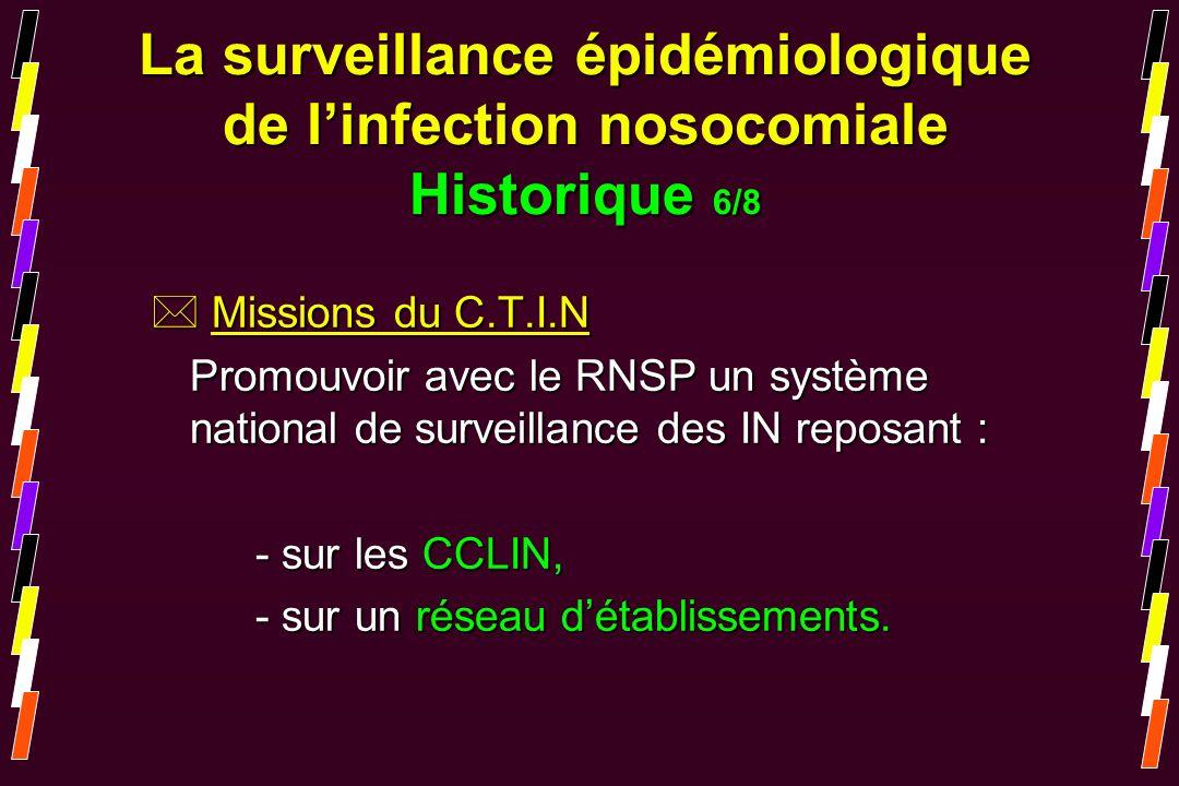 * Missions du C.T.I.N Promouvoir avec le RNSP un système national de surveillance des IN reposant : - sur les CCLIN, - sur un réseau détablissements.