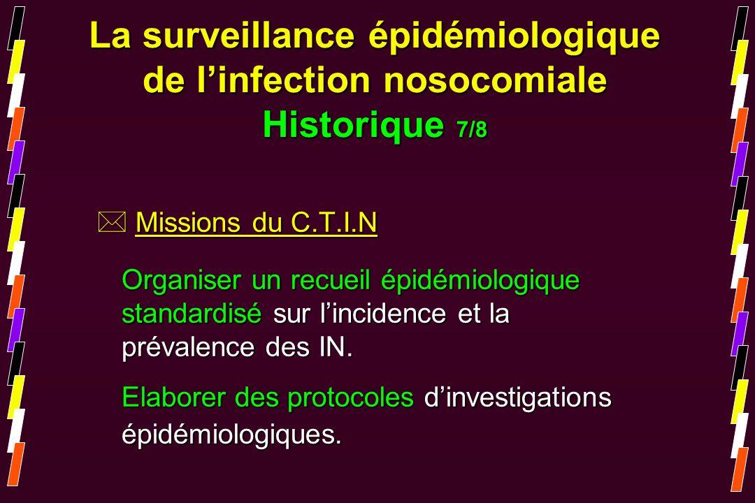 * Missions du C.T.I.N Organiser un recueil épidémiologique standardisé sur lincidence et la prévalence des IN. Elaborer des protocoles dinvestigations