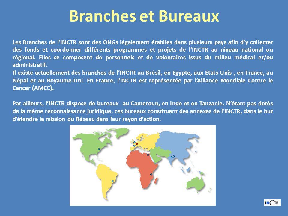 Branches et Bureaux Les Branches de lINCTR sont des ONGs légalement établies dans plusieurs pays afin dy collecter des fonds et coordonner différents programmes et projets de lINCTR au niveau national ou régional.