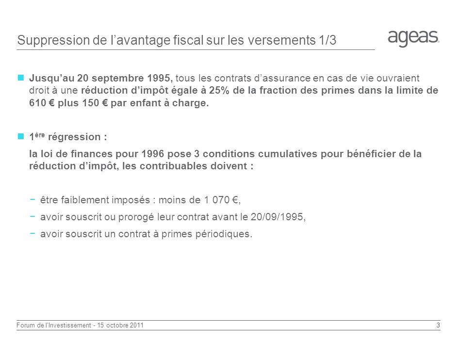 2 Forum de l Investissement - 15 octobre 2011 Suppression de lavantage fiscal sur les versements
