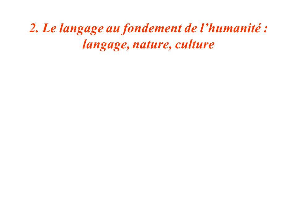 2. Le langage au fondement de lhumanité : langage, nature, culture