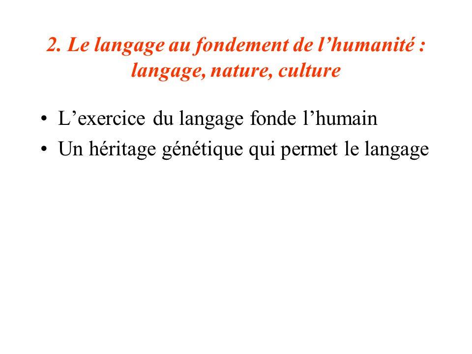 2. Le langage au fondement de lhumanité : langage, nature, culture Lexercice du langage fonde lhumain Un héritage génétique qui permet le langage